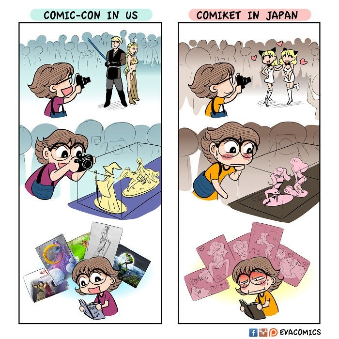 Cartoon - COMIC-CON IN US COMIKET IN JAPAN EVACOMICS f Fo