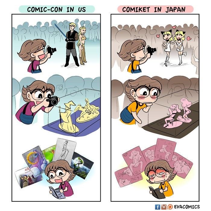 Cartoon - COMIC-CON IN US COMIKET IN JAPAN EVACOMICS f Fo