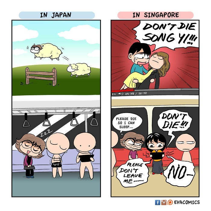 Cartoon - IN JAPAN IN SINGAPORE DON'TDIE SONG YI!! 04:38/38:58 DON'T DIE PLEASE DIE SO I CAN SLEEP.. ZzZ PLEASE DON'T LEAVE ME NO EVACOMICS fFo