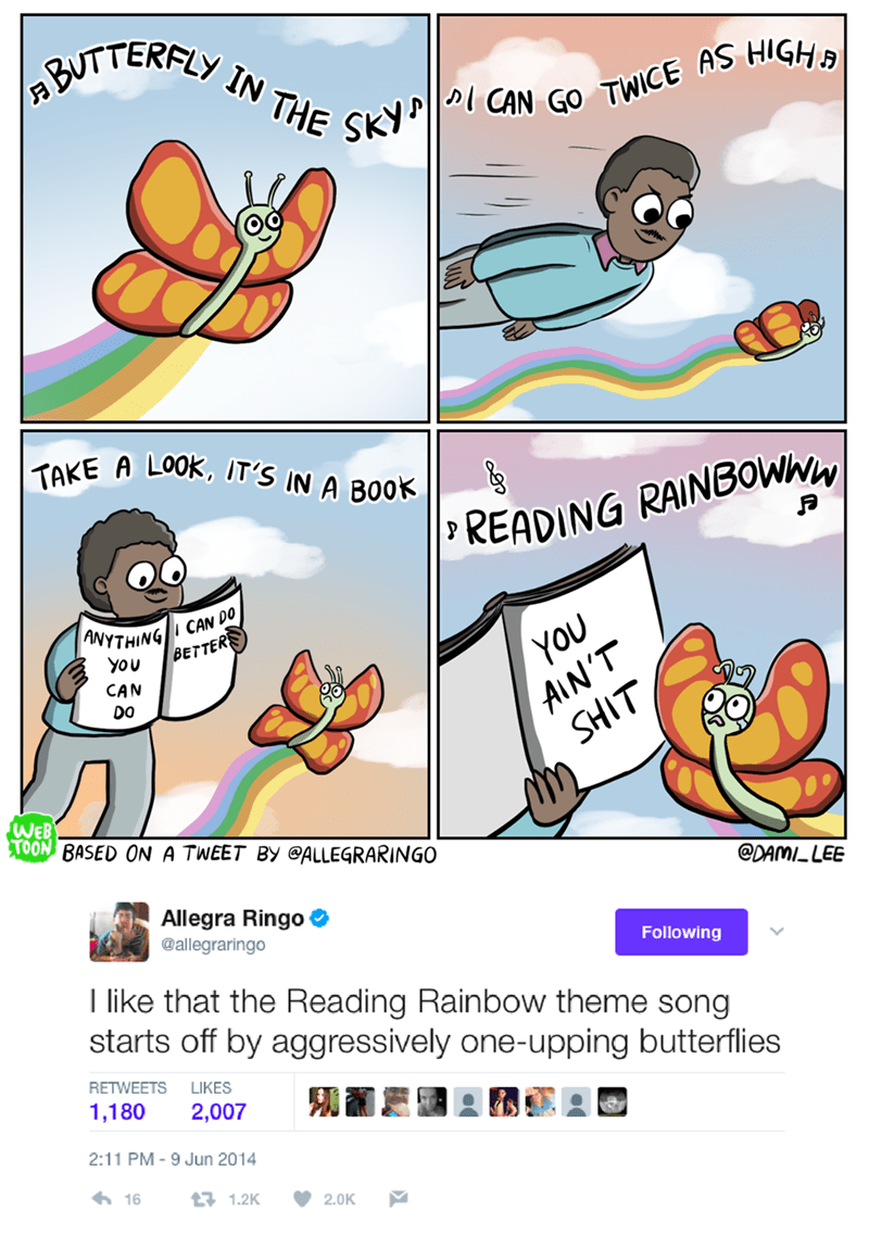 butterflies tweets reading rainbow funny - 9318467584