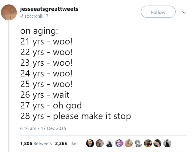 Text - jesseeatsgreattweets Follow @soccrchik17 on aging: 21 yrs - woo! 22 yrs woo! 23 yrs - woo! 24 yrs - woo! 25 yrs - woo! 26 yrs - wait 27 yrs - oh god 28 yrs - please make it stop 6:16 am 17 Dec 2015 1,806 Retweets 2,265 Likes
