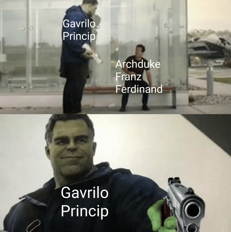 dank history memes - Photo caption - Gavrilo Princip Archduke Franz Ferdinand Gavrilo Princip