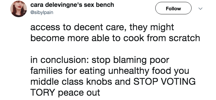 junk food shaming - Text - cara delevingne's sex bench Follow @sibylpain access to decent care, they might become more able to cook from scratch in conclusion: stop blaming poor families for eating unhealthy food you middle class knobs and STOP VOTING TORY peace out