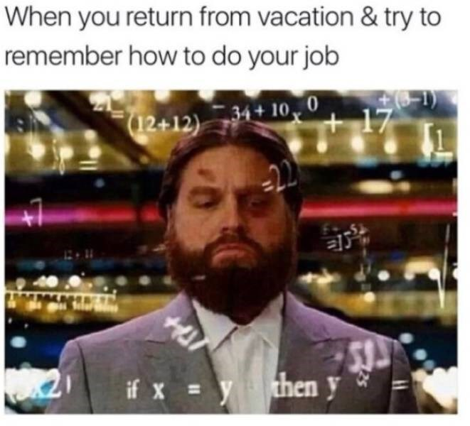 memes - Facial hair - When you return from vacation & try to remember how to do your job D 34+10 17 (12+12) -22 HE then y if xy