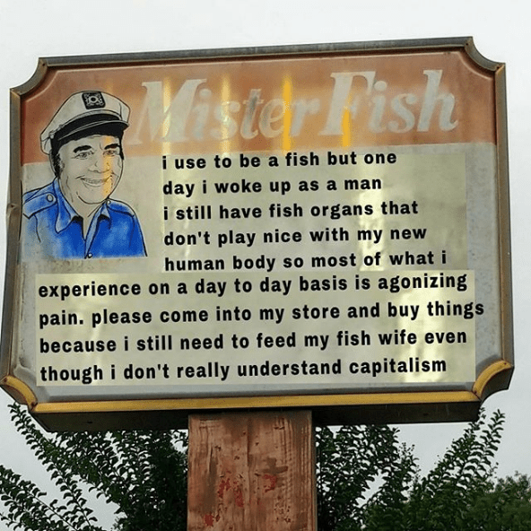 Text - Mirier Pish i use to be a fish but one day i woke up as a man i still have fish organs that don't play nice with my new human body so most of what i experience on a day to day bas is is agonizing pain. please come into my store and buy things because i still need to feed my fish wife even though i don't really understand capitalism