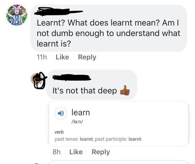 intellectuals - Text - Learnt? What does learnt mean? Am I not dumb enough to understand what learnt is? 11h Like Reply It's not that deep learn verb past tense: learnt; past participle: learnt 8h Like Reply