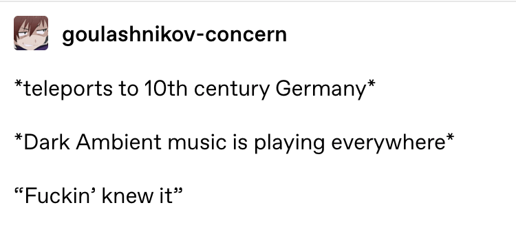 """memes - Text - goulashnikov-concern teleports to 1Oth century Germany* *Dark Ambient music is playing everywhere* """"Fuckin' knew it"""""""