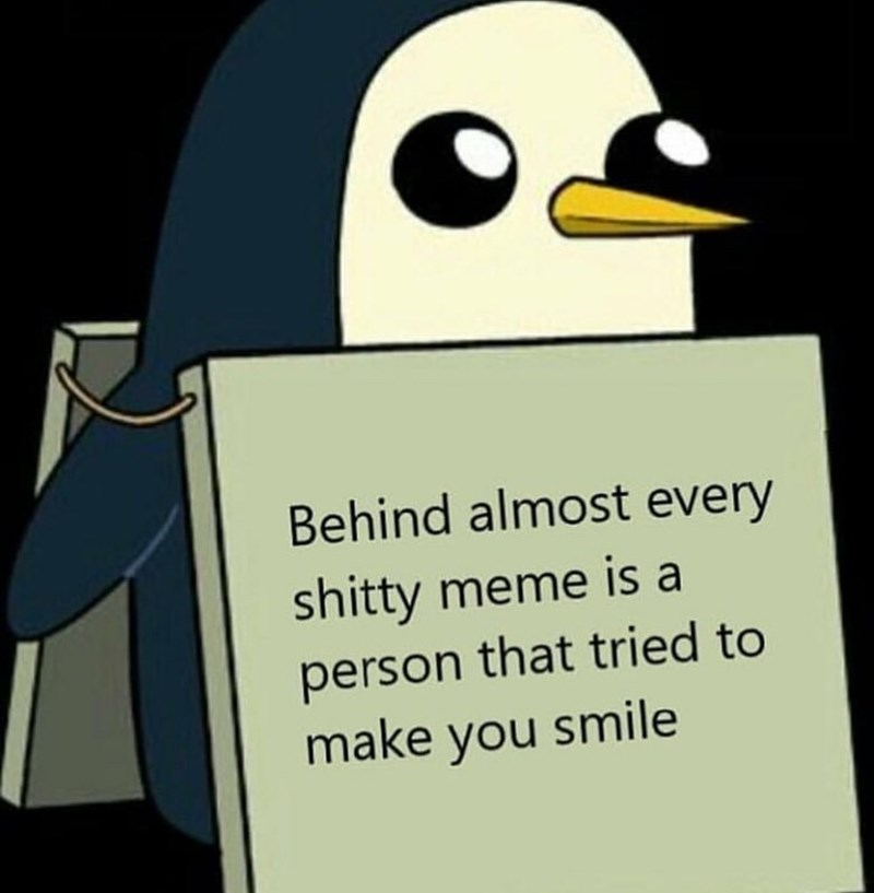 memes - Bird - Behind almost every shitty meme is a person that tried to make you smile