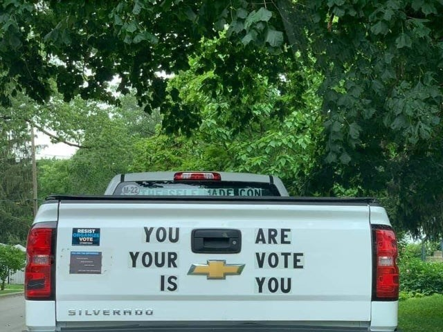 design fails - Vehicle - M-22 SELE ADE CON YOU RESIST ORGANIE VOTE ARE YOUR IS VOTE YOU SILVERADO