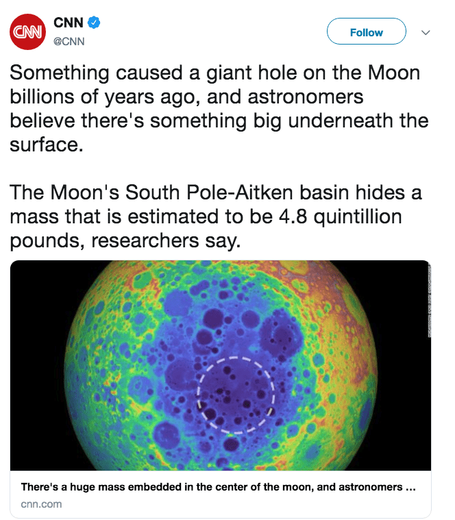 destiny moon jokes - cnn tweet about mass buried inside moon