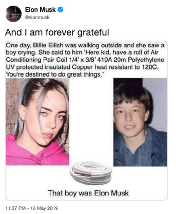 Funny Billie Eilish meme - Elon Musk
