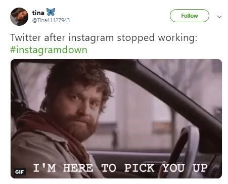 "Funny meme about Instagram that reads, ""Twitter after Instagram stopped working"""