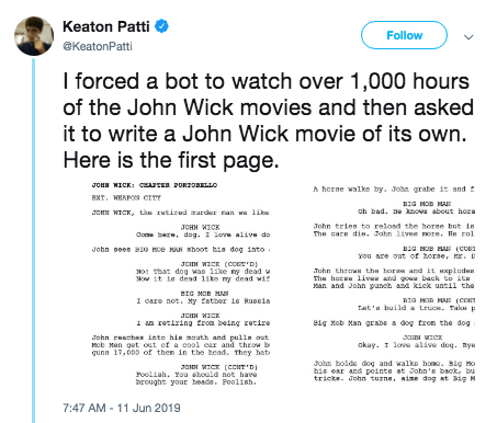 Writer Tweets Hilarious Bot Written John Wick Script Fail Blog Funny Fails