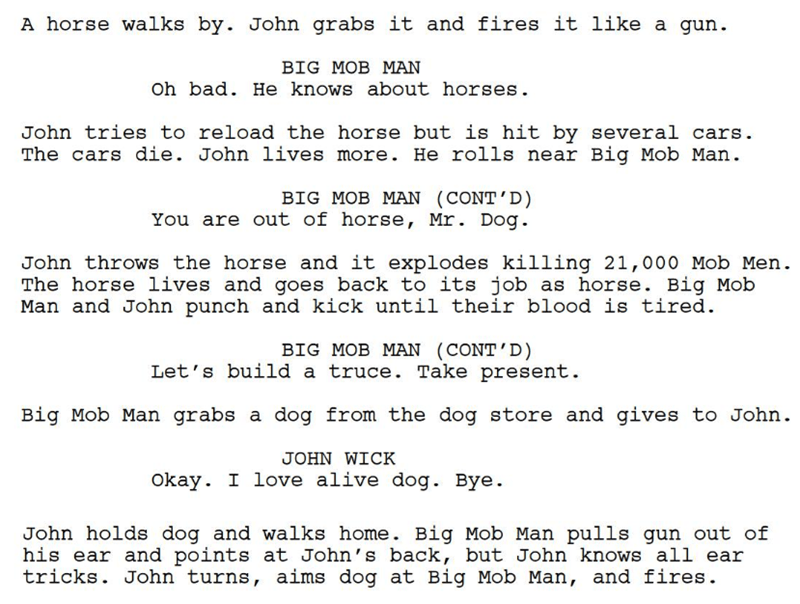 john wick both - Text - A horse walks by. John grabs it and fires it like a gun BIG MOB MAN Oh bad. He knows about horses