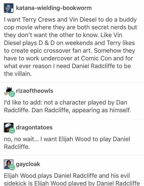Dungeons and dragons meme, tumblr, daniel readcliffe, elijah wood.
