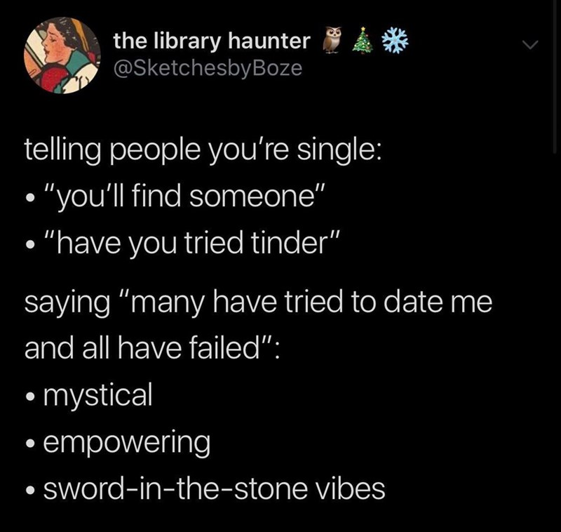 """Text - the library haunter @SketchesbyBoze telling people you're single: """"you'll find someone"""" """"have you tried tinder"""" saying """"many have tried to date me and all have failed"""": mystical empowering sWord-in-the-stone vibes"""