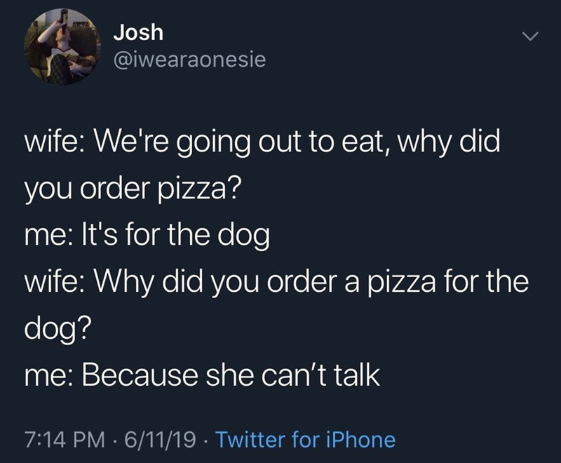 Text - Josh @iwearaonesie wife: We're going out to eat, why did you order pizza? me: It's for the dog wife: Why did you order a pizza for the dog? me: Because she can't talk 7:14 PM 6/11/19 Twitter for iPhone