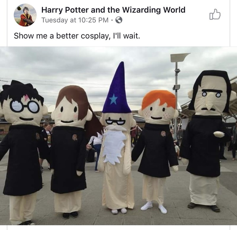 Cartoon - Harry Potter and the Wizarding World Tuesday at 10:25 PM Show me a better cosplay, I'll wait.