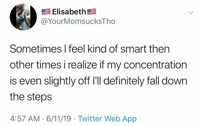 Text - Elisabeth @YourMomsucksTho Sometimes I feel kind of smart then other times i realize if my concentration is even slightly off I'll definitely fall down the steps 4:57 AM 6/11/19 Twitter Web App