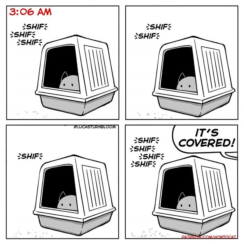 Product - 3: 06 AM SHIF SHIF SHIF SHIF SHIF @LUCASTURNBLOOM IT'S COVERED! SHIF SHIF SHIF SHIF SHIF PATREON COM/HOWTOCAT