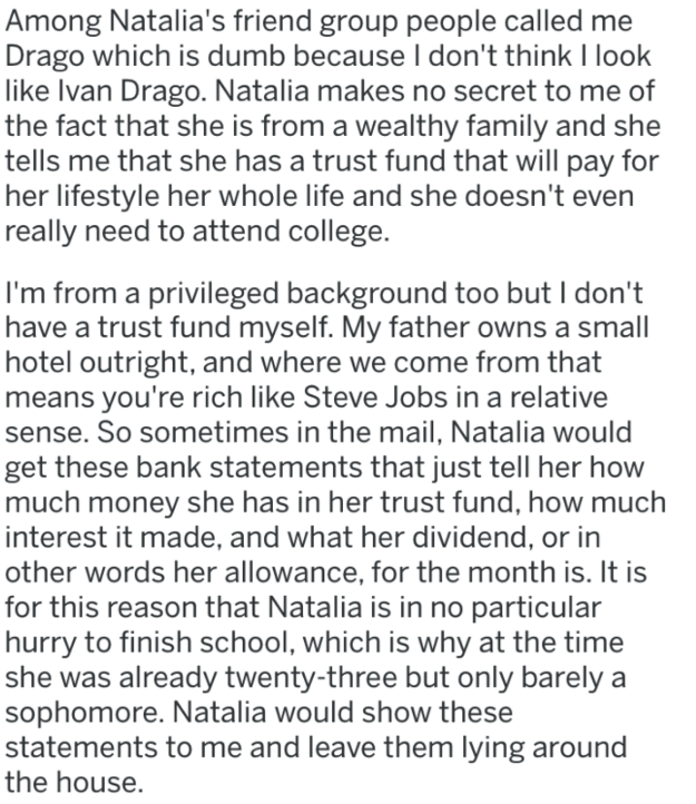 bitter ex - Text - Among Natalia's friend group people called me Drago which is dumb because I don't think I look like Ivan Drago.
