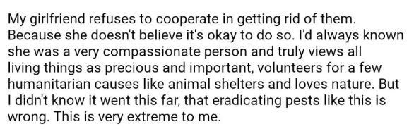 Reddit post about how his girlfriend refuses to cooperate in getting rid of the bedbugs that one of their guests brought