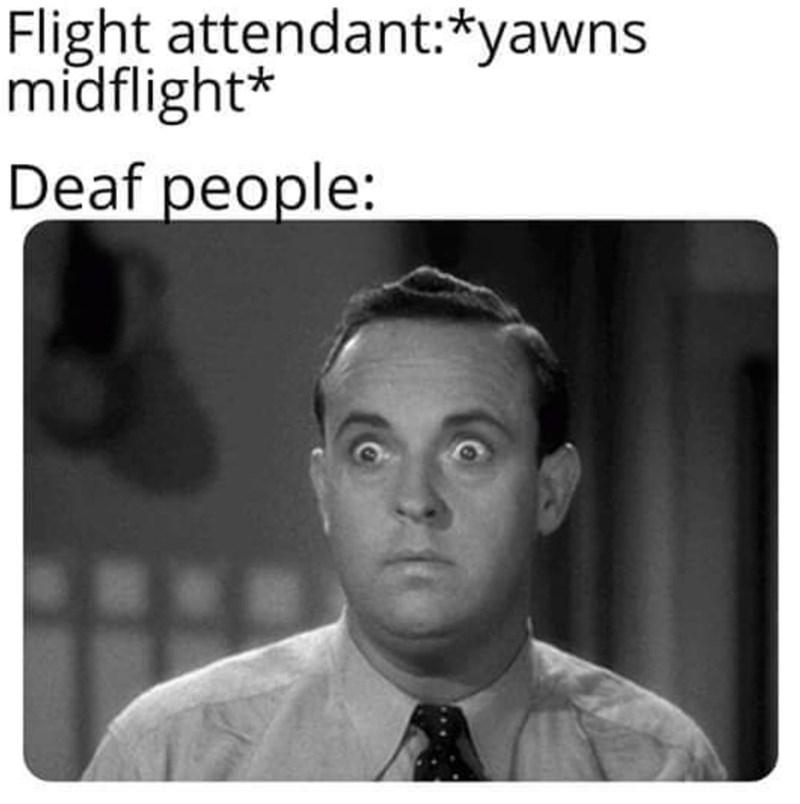 meme - Text - Flight attendant:*yawns midflight* Deaf people: