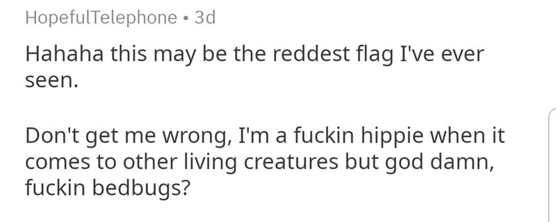 Text - HopefulTelephone 3d Hahaha this may be the reddest flag I've ever seen. Don't get me wrong, I'm a fuckin hippie when it comes to other living creatures but god damn, fuckin bedbugs?