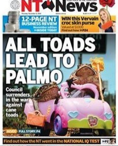 Motor vehicle - NT News 12-PAGE NT BUSINESS REVIEW er edn P WIN this Vervain croc skin purse P24 NSI TOOAY ALL TOADS LEAD TO 0 PALMO Council surrenders in the war against cane toads FULL STORY N Find out how the NT went in the NATIONAL 1Q TEST