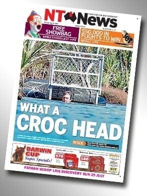 "Northern Territory News headline that reads, ""What a croc head"""