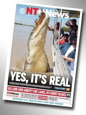 """Northern Territory News headline that reads, """"Yes, it's real"""""""