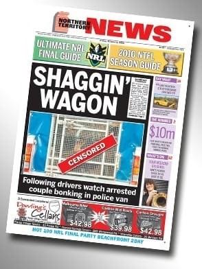 "Northern Territory News headline that reads, ""Shaggin' waggon"""