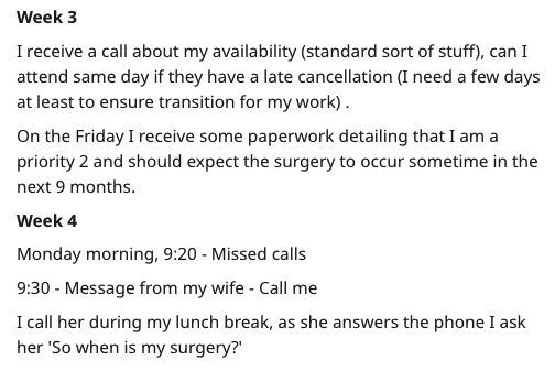 Text - Text - Week 3 I receive a call about my availability (standard sort of stuff), can I attend same day if they have a late cancellation (I need a few days at least to ensure transition for my work) On the Friday I receive some paperwork detailing that I am a priority 2 and should expect the surgery to occur sometime in the next 9 months. Week 4 Monday morning, 9:20 Missed calls 9:30- Message from my wife Call me I call her during my lunch break, as she answers the phone I ask her 'So when i
