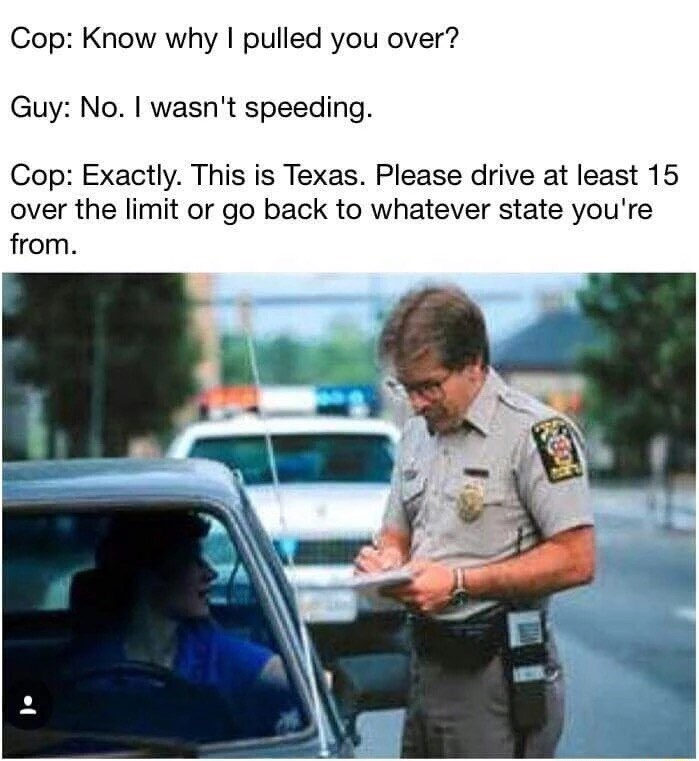 Funny meme about speeding in Texas