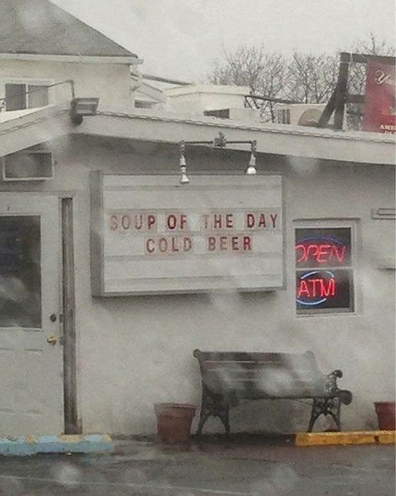 funny meme - Wall - 3OUP OF THE DAY COLD BEER PPEN ATM