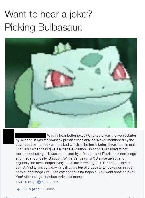 caught in a lie - Text - Want to hear a joke? Picking Bulbasaur. Wanna hear better jokes? Charizard was the worst starter by science. It was the worst by pro analyses articles
