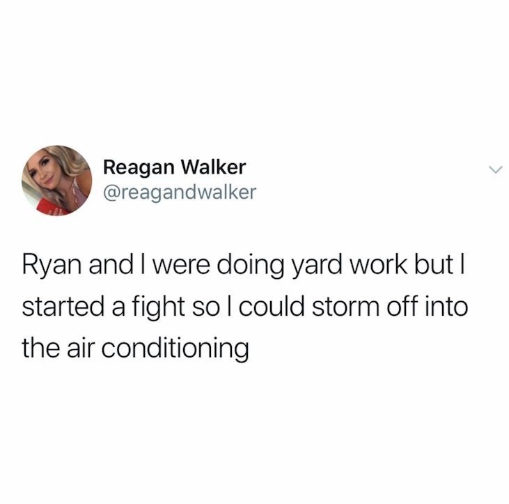 meme - Text - Reagan Walker @reagandwalker Ryan and I were doing yard work but I started a fight so l could storm off into the air conditioning