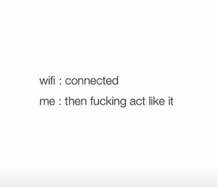 "Funny text that reads, ""Wifi: Connected; Me: Then fucking act like it"""