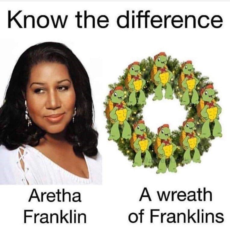 "Funny meme about knowing the difference between ""Aretha Franklin and ""a wreath of Franklins"""