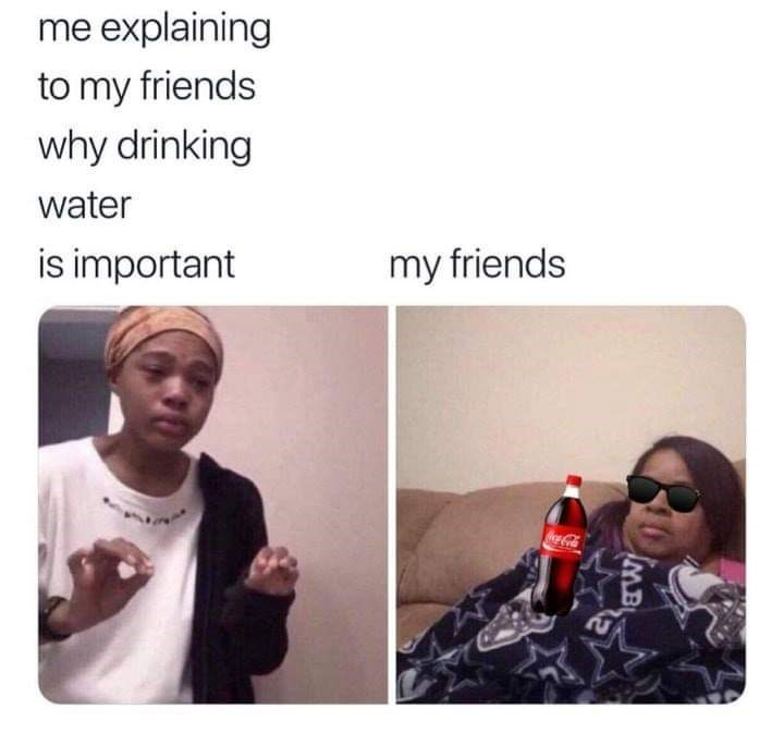 Funny 'Me Explaining to My Mom' meme about the importance of drinking water