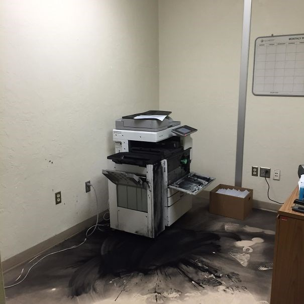 photocopier that exploded everywhere