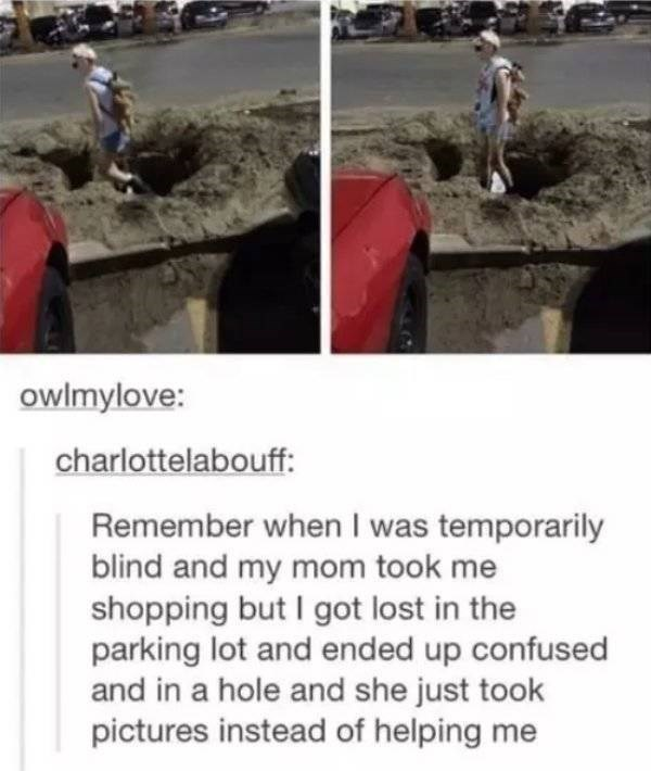 Text - owlmylove: charlottelabouff: Remember when I was temporarily blind and my mom took me shopping but I got lost in the parking lot and ended up confused and in a hole and she just took pictures instead of helping me