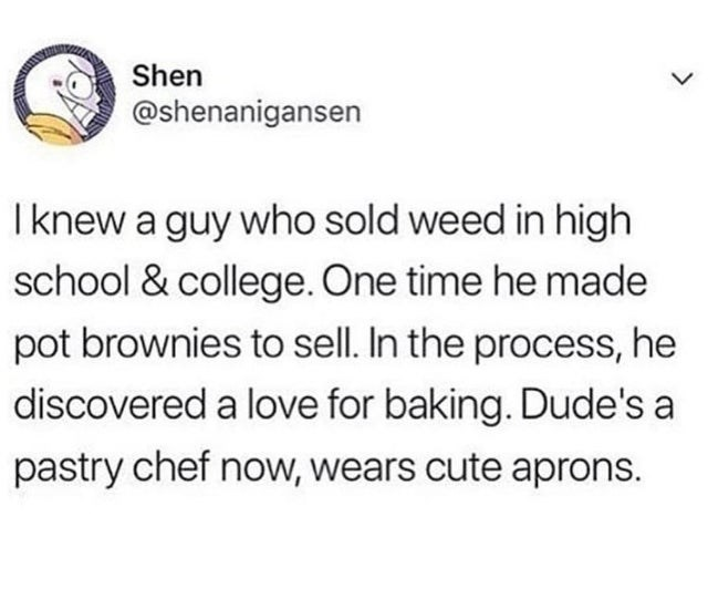 wholesome meme - Text - Shen @shenanigansen I knew a guy who sold weed in high school & college. One time he made pot brownies to sell. In the process, he discovered a love for baking. Dude's a pastry chef now, wears cute aprons.