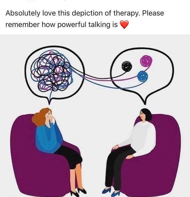 wholesome meme - Illustration - Absolutely love this depiction of therapy. Please remember how powerful talking is