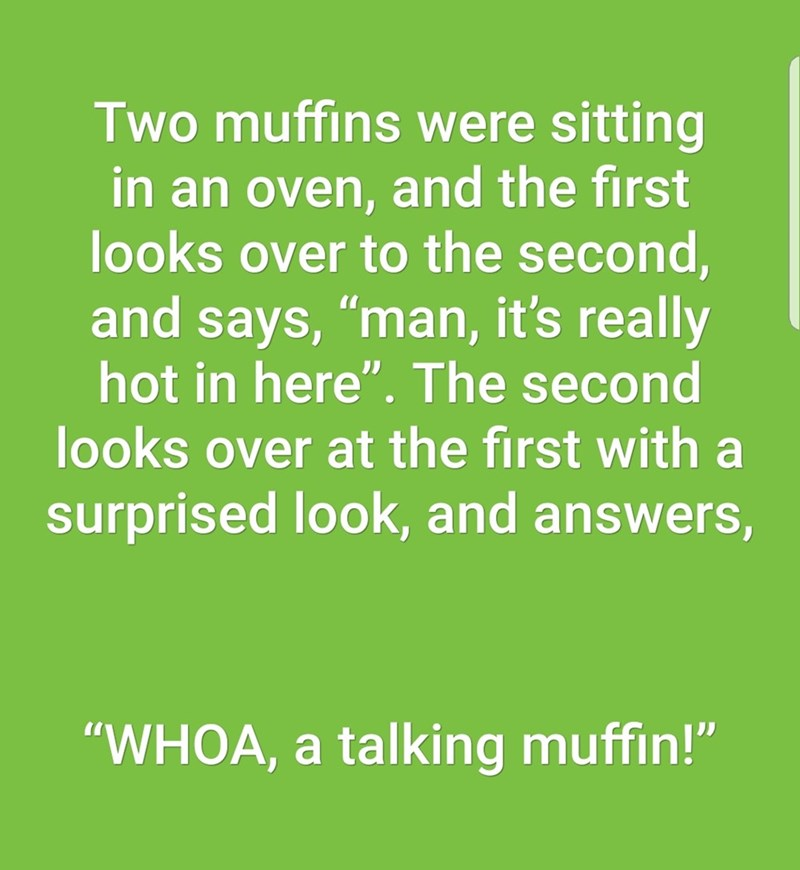 """Text - Two muffins were sitting in an oven, and the first looks over to the second, and says, """"man, it's really hot in here"""". The second looks over at the first with a surprised look, and answers, """"WHOA, a talking muffin!"""""""