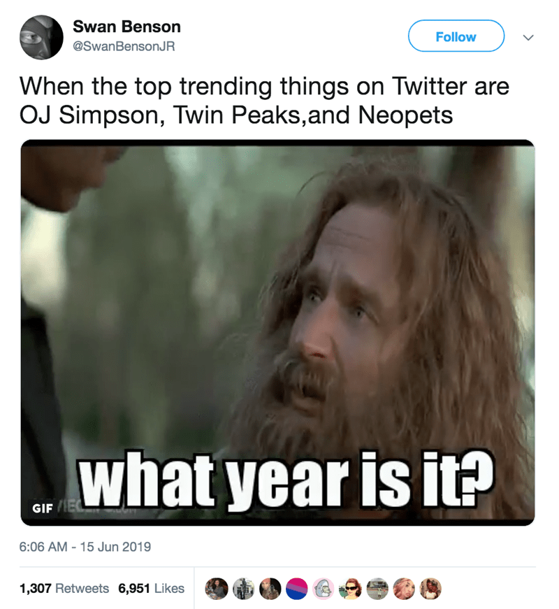Face - Swan Benson Follow @SwanBensonJR When the top trending things on Twitter are OJ Simpson, Twin Peaks,and Neopets what year is it? GIF E 6:06 AM 15 Jun 2019 1,307 Retweets 6,951 Likes