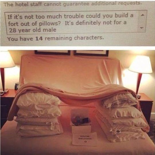 wholesome meme - Text - The hotel staff cannot quarantee additional requests. If it's not too much trouble could you build a fort out of pillows? It's definitely not for a 28 year old male You have 14 remaining characters. vOuRE WELCOME