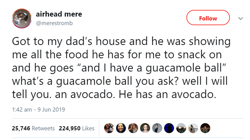 """Text - Text - airhead mere Follow @merestromb Got to my dad's house and he was showing me all the food he has for me to snack on and he goes """"and I have a guacamole ball"""" what's a guacamole ball you ask? well I will tell you. an avocado. He has an avocado. 1:42 am - 9 Jun 2019 25,746 Retweets 224,950 Likes"""