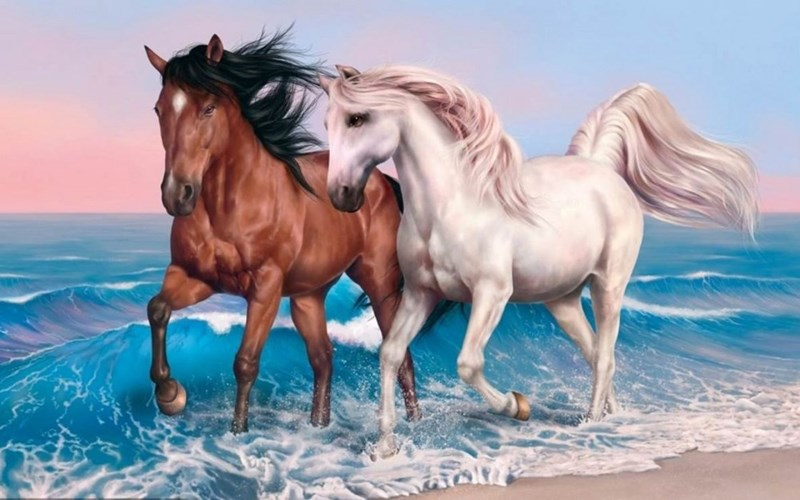 a beautiful picture of a painting of a brown and white horse trotting along the sea at sunset