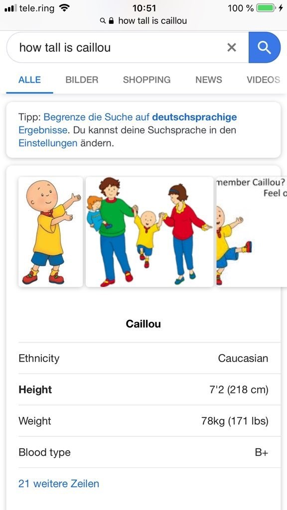 Tweets about caillou height